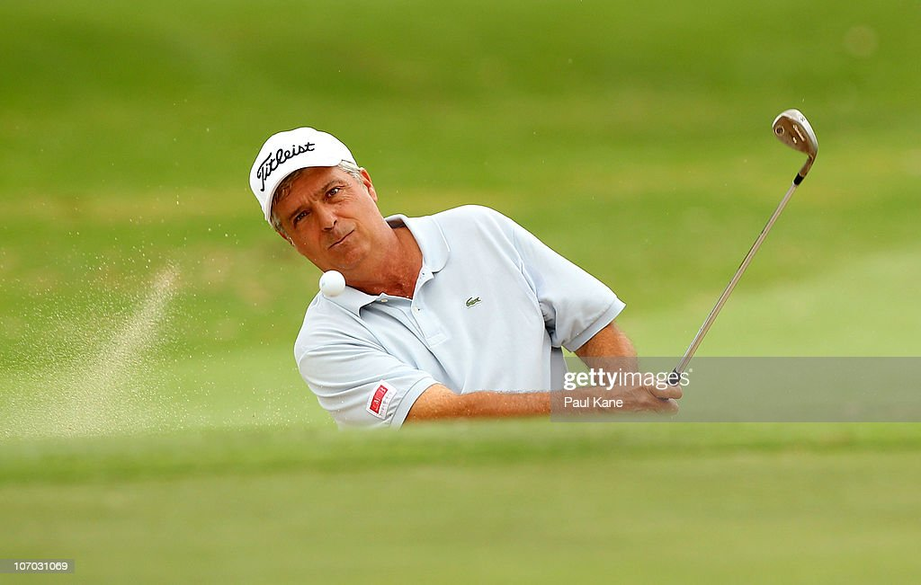 Marc Farry of France plays out of a bunker on the 3rd hole during day two of the 2010 Australian Senior Open at Royal Perth Golf Club on November 20, 2010 in Perth, Australia.