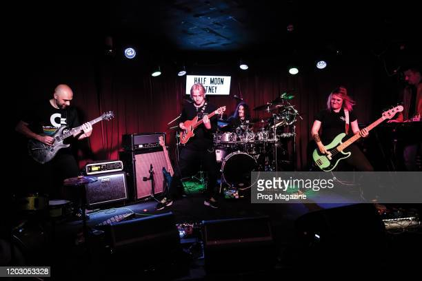Marc Fascia Aaron Grimes Jimmy Pallagrosi and Liz Hayes of English progressive rock group ZIO performing live on stage at The Half Moon in London on...
