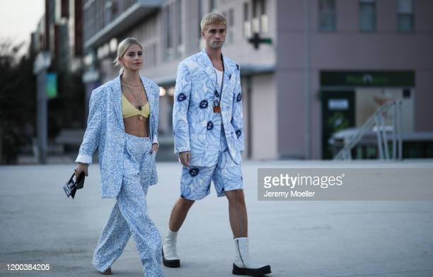 Marc Forne & Caro Daur wearing Jacquemus looks before the Jacquemus Men Fashion Show AW20 on January 18, 2020 in Paris, France.