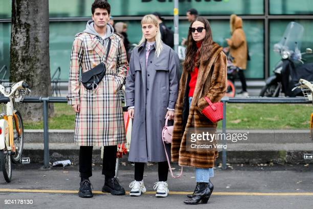 Marc Forne Erika Boldrin Linda Tol is seen outside Armani during Milan Fashion Week Fall/Winter 2018/19 on February 25 2018 in Milan Italy