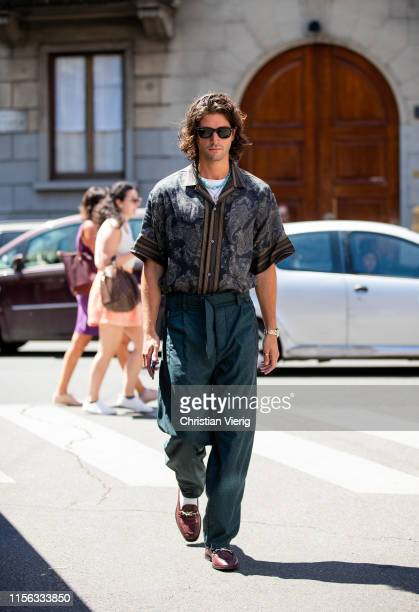 Marc Forne is seen wearing button shirt, green pants outside Etro during the Milan Men's Fashion Week Spring/Summer 2020 on June 16, 2019 in Milan,...