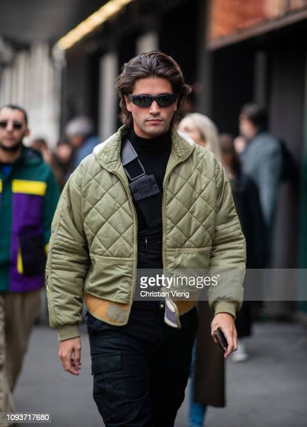 Marc Forne is seen wearing olive jacket outside Sunnei during Milan Menswear Fashion Week Autumn/Winter 2019/20 on January 13, 2019 in Milan, Italy.