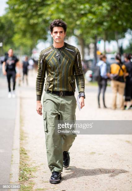 Marc Forne wearing olive pants is seen outside Balmain on day six of Paris Fashion Week Menswear SS19 on June 24 2018 in Paris France