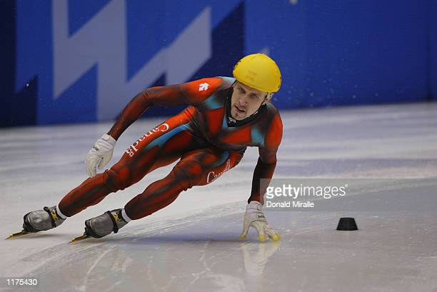 Marc Gagnon of Canada competes in the men's 5000m speed skating relay semifinals during the Salt Lake City Winter Olympic Games on February 13 2002...
