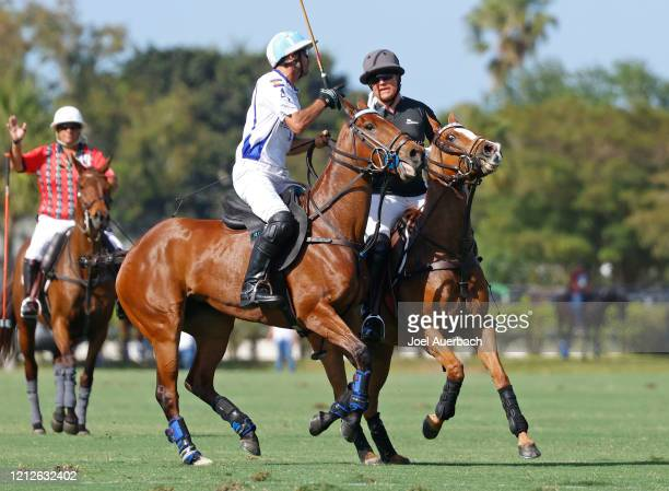 Marc Ganzi of Richard Mille and Adolfo Cambiaso of Valiente argue after close play during The Palm Beach Open on March 15 2020 at the Grand Champions...