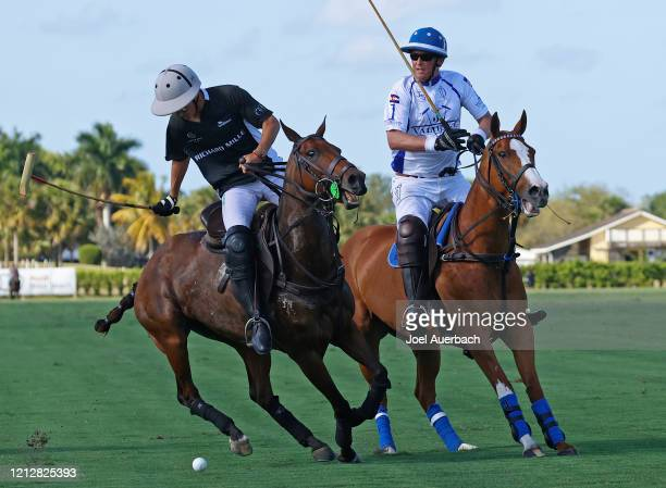 Marc Ganzi of Richard Mille plays the ball while being defended by Bob Jornayvaz of Valiente during The Palm Beach Open on March 15 2020 at the Grand...