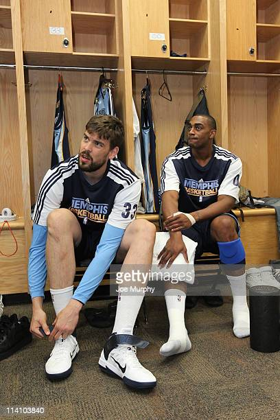 Marc Gasol and Darrell Arthur of the Memphis Grizzlies get ready for the start against the Oklahoma City Thunder in Game Five of the Western...