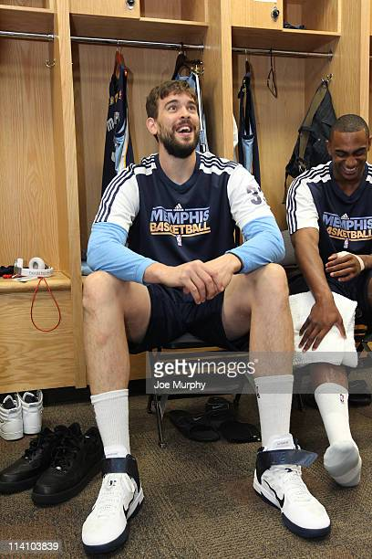 Marc Gasol and Darrell Arthur of the Memphis Grizzlies share a laugh before the start against the Oklahoma City Thunder in Game five of the Western...