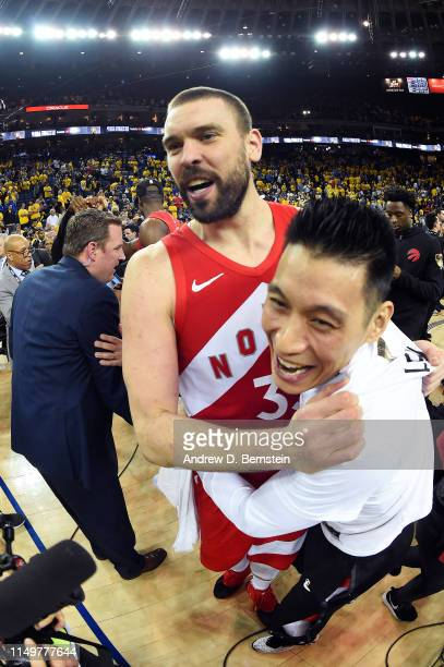 Marc Gasol and Jeremy Lin of the Toronto Raptors celebrate after Game Six of the NBA Finals against the Golden State Warriors on June 13 2019 at...
