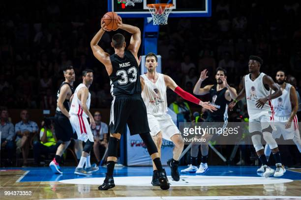 Marc Gasol from Spain of Memphis Grizzlies and Pau Gasol from Spain of San Antonio Spurs during the charity and friendly match Pau Gasol vs Marc...