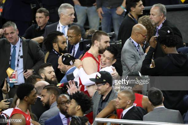 Marc Gasol hugs Jeremy Lin of the Toronto Raptors after the Toronto Raptors win the game and become the 2019 NBA Champions during Game Six of the NBA...