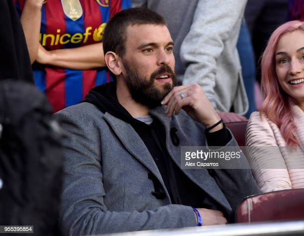 Marc Gasol NBA star is seen in the stands prior to the La Liga match between Barcelona and Real Madrid at Camp Nou on May 6 2018 in Barcelona Spain