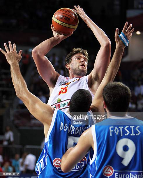 Marc Gasol of Spain battles for the ball with Ioannis Bourousis of Greece at the 2010 World Championships of Basketball during the game between Spain...