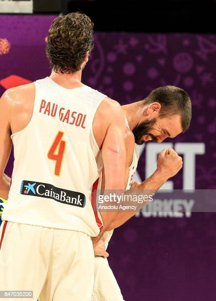 Marc Gasol of Spain celebrates during the FIBA Eurobasket 2017 semi final basketball match between Spain and Slovenia at Sinan Erdem Dome in...