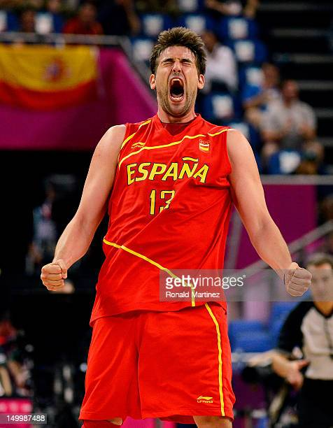 Marc Gasol of Spain reacts late in the fourth quarter against France during the Men's Basketball quaterfinal game on Day 12 of the London 2012...