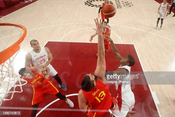 Marc Gasol of Team Spain blocks a shot by Rui Hachimura of Team Japan during the second half of the Men's Preliminary Round Group C game on day three...