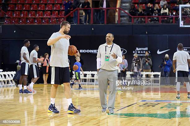 Marc Gasol of Team World with Head Coach Lionel Hollins of Team World during practice for the NBA Africa Game 2015 as part of Basketball Without...