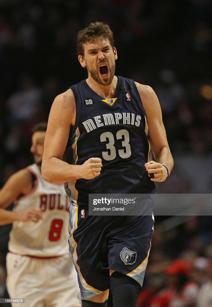 Marc Gasol #33 of the Memphis Grizzles celebrates hitting a shot in overtime against the Chicago Bulls at the United Center on January 19, 2013 in Chicago, Illinois. The Grizzlies defeated the Bulls 85-82 in overtime.
