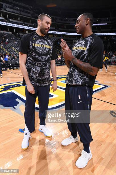 Marc Gasol of the Memphis Grizzlies and Darrell Arthur of the Denver Nuggets talk before the game on January 12 2018 at the Pepsi Center in Denver...