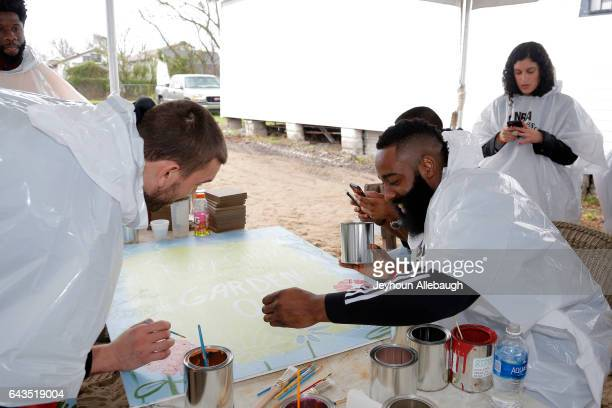 Marc Gasol of the Memphis Grizzlies and James Harden of the Houston Rockets participate during the NBA Cares Day of Service as part of 2017 AllStar...