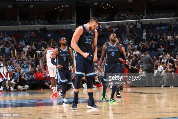 Marc Gasol of the Memphis Grizzlies celebrates after hitting a three pointer against the Washington Wizards on October 30 2018 at FedEx Forum in...