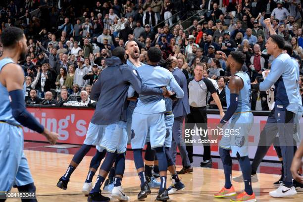 Marc Gasol of the Memphis Grizzlies celebrates after making the game winning free throw against the San Antonio Spurs on November 21 2018 at the ATT...