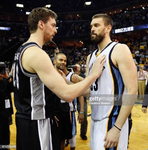Marc Gasol of the Memphis Grizzlies congratulates Pau Gasol of the San Antonio Spurs after a 10396 Spurs victory in Game 6 of the Western Conference...