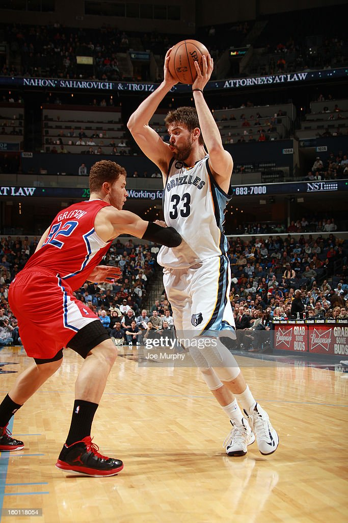 Marc Gasol #33 of the Memphis Grizzlies controls the ball against Blake Griffin #32 of the Los Angeles Clippers on January 14, 2013 at FedExForum in Memphis, Tennessee.