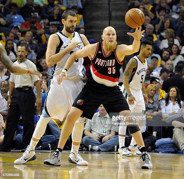 Marc Gasol of the Memphis Grizzlies defends Chris Kaman of the Portland Trailblazers in the second quarter of Game One of the first round of the 2015...