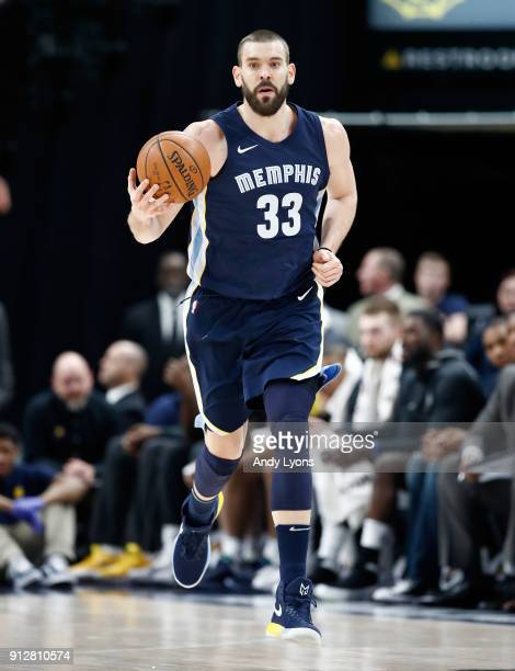 Marc Gasol of the Memphis Grizzlies dribbles the ball against the Indiana Pacers during the game at Bankers Life Fieldhouse on January 31 2018 in...
