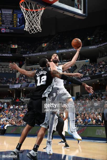 Marc Gasol of the Memphis Grizzlies dunks against the San Antonio Spurs on December 1 2017 at FedExForum in Memphis Tennessee NOTE TO USER User...