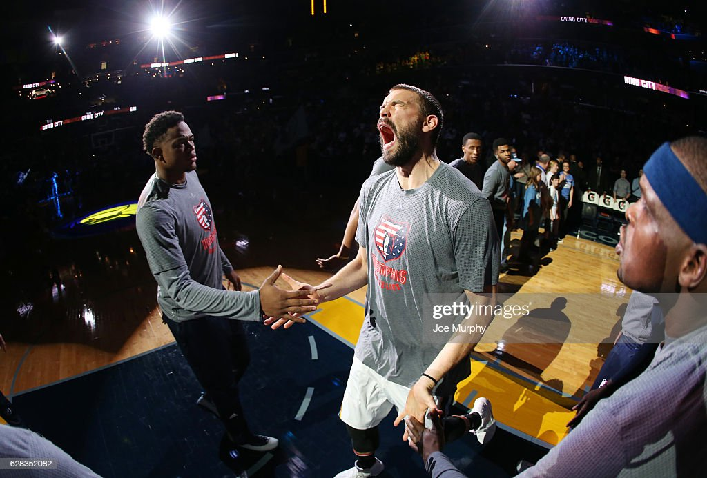 Marc Gasol #33 of the Memphis Grizzlies gets introduced before the game against the Portland Trail Blazers on November 6, 2016 at FedExForum in Memphis, Tennessee.