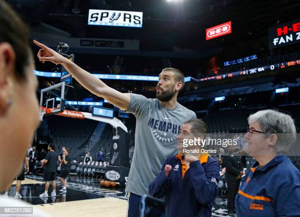 Marc Gasol of the Memphis Grizzlies greets fans from his country before the start of his game against the San Antonio Spurs at ATT Center on November...