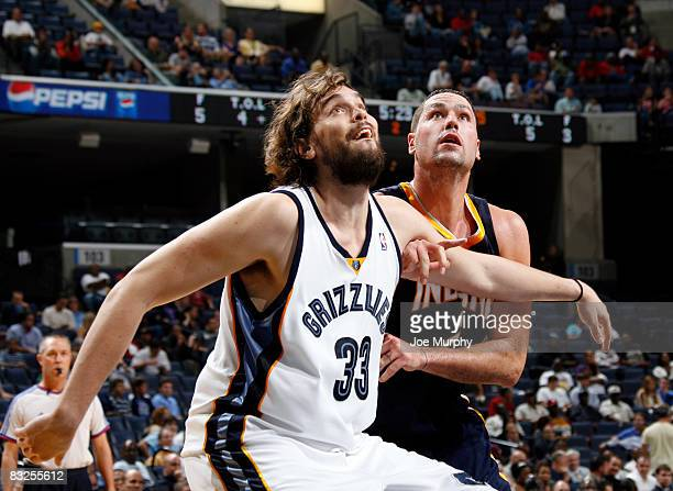 Marc Gasol of the Memphis Grizzlies guards Josh Davis of the Indiana Pacers on October 13 2008 at the FedExForum in Memphis Tennessee NOTE TO USER...