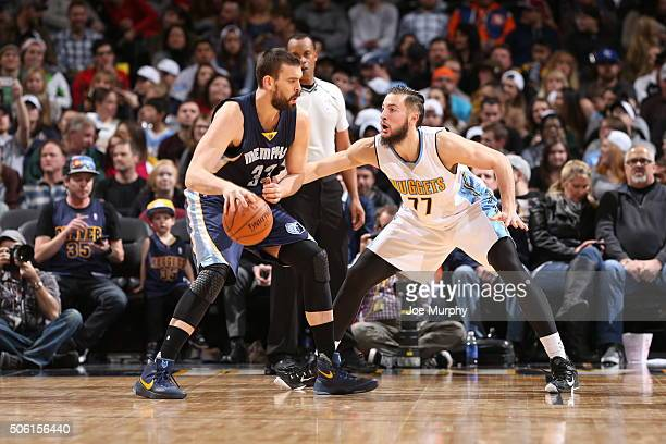 Marc Gasol of the Memphis Grizzlies handles the ball against Joffrey Lauvergne of the Denver Nuggets on January 21 2016 at the Pepsi Center in Denver...