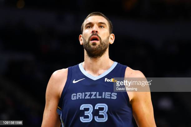 Marc Gasol of the Memphis Grizzlies looks on in the first quarter during the game against the Minnesota Timberwolves at Target Center on January 30...