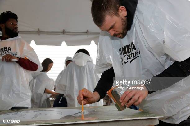 Marc Gasol of the Memphis Grizzlies participate during the NBA Cares Day of Service as part of 2017 AllStar Weekend at the KaBOOM Rebuilding Together...