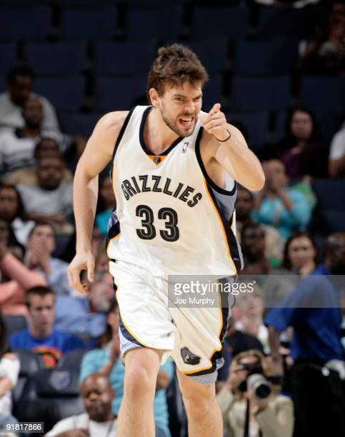 Marc Gasol of the Memphis Grizzlies points down court during a game against the Orlando Magic on October 12 2009 at FedExForum in Memphis Tennessee...
