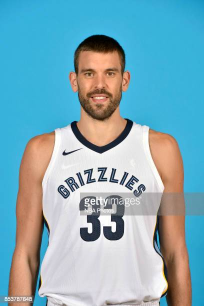 Marc Gasol of the Memphis Grizzlies poses for a head shot during Memphis Grizzlies Media Day on September 25 2017 at FedExForum in Memphis Tennessee...