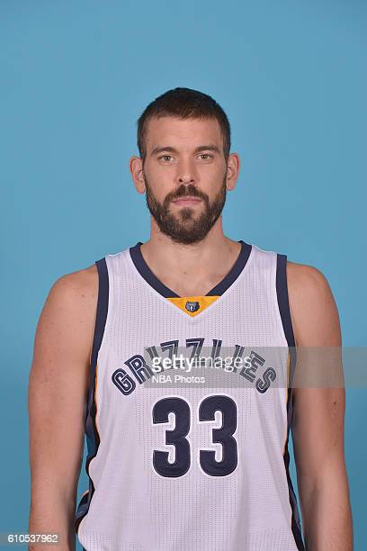 Marc Gasol of the Memphis Grizzlies poses for a head shot during the 20162017 Memphis Grizzlies Media Day on September 26 2016 at FedExForum in...