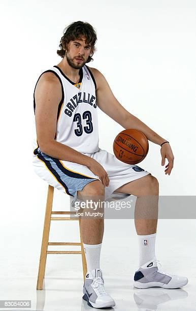 Marc Gasol of the Memphis Grizzlies poses for a portrait during NBA Media Day on September 29 2008 at at the FedExForum in Memphis Tennessee NOTE TO...