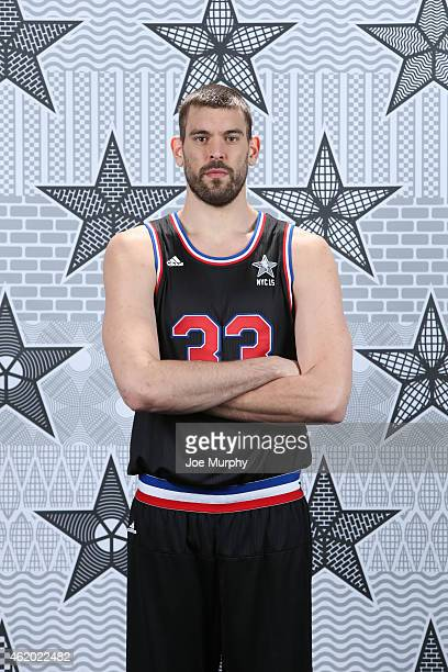 Marc Gasol of the Memphis Grizzlies poses for an All Star portrait on January 23 2015 at FedExForum in Memphis Tennessee NOTE TO USER User expressly...