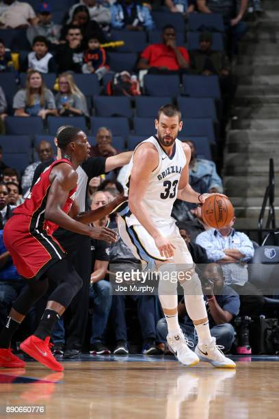 Marc Gasol of the Memphis Grizzlies posts up against Bam Adebayo of the Miami Heat on December 11 2017 at FedExForum in Memphis Tennessee NOTE TO...