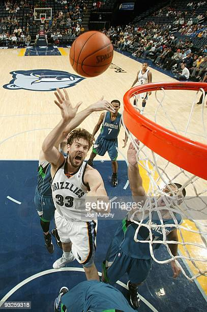 Marc Gasol of the Memphis Grizzlies puts a shot up during the game against the Minnesota Timberwolves on November 14 2009 at FedExForum in Memphis...