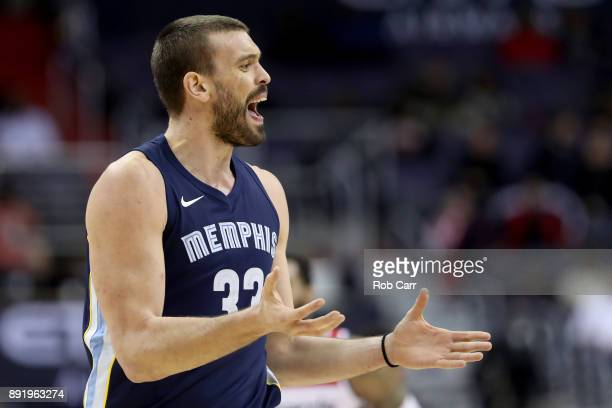 Marc Gasol of the Memphis Grizzlies reacts after being called for a technical foul against the Washington Wizards in the second half at Capital One...