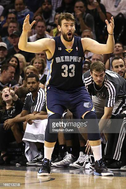 Marc Gasol of the Memphis Grizzlies reacts in the second half against the San Antonio Spurs during Game Two of the Western Conference Finals of the...