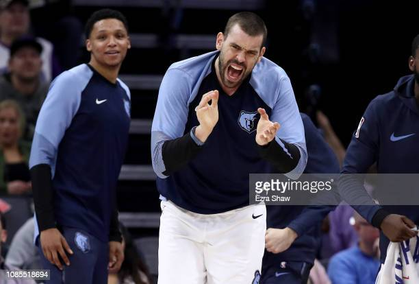 Marc Gasol of the Memphis Grizzlies reacts on the bench during their game against the Sacramento Kings at Golden 1 Center on December 21 2018 in...