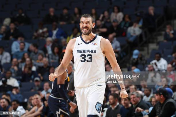 Marc Gasol of the Memphis Grizzlies reacts to a play against the Denver Nuggets on January 28 2019 at FedExForum in Memphis Tennessee NOTE TO USER...