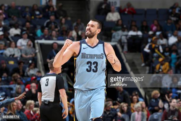 Marc Gasol of the Memphis Grizzlies reacts to a play during the game against the Detroit Pistons on April 8 2018 at FedExForum in Memphis Tennessee...