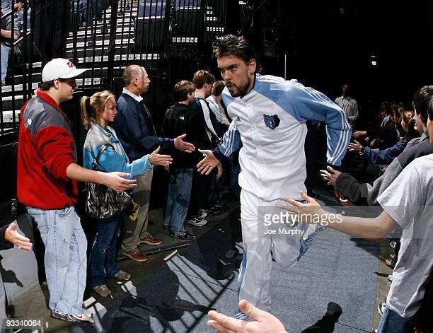 Marc Gasol of the Memphis Grizzlies runs through fan tunnel before a game against the Sacramento Kings on November 23 2009 at FedExForum in Memphis...